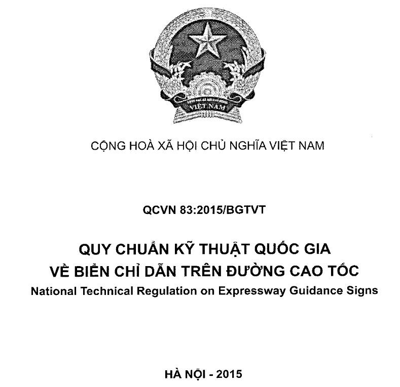 Quy chuẩn kỹ thuật Quốc gia về biển chỉ dẫn trên đường cao tốc QCVN 83:2015/BGTVT - National Technical Regulation on Expressway Guidance Signs
